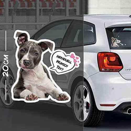 Hunde Aufkleber Motiv #1   Druck & Cut mit oder ohne Laminat   Individuell mit Wunschtext