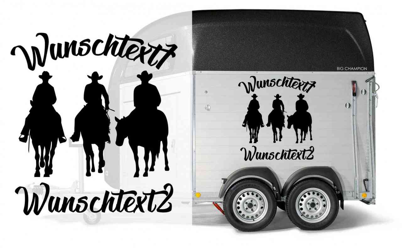 Trio Western Riding - Aufkleber | individuell mit 2x Wunschtext | Auto Anhänger Aufkleber | Pferde
