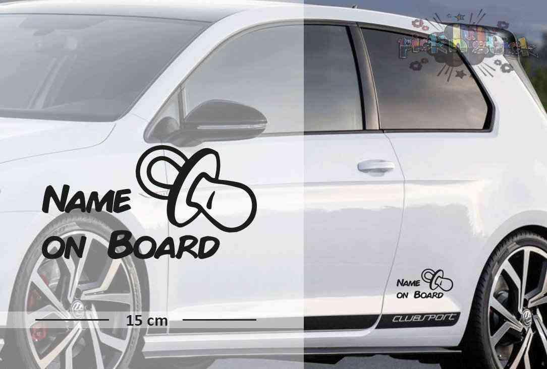 Schnuller - Schnulli | Baby - Name On Board | Wunschtext | Autoaufkleber | Lustig | Baby On Board