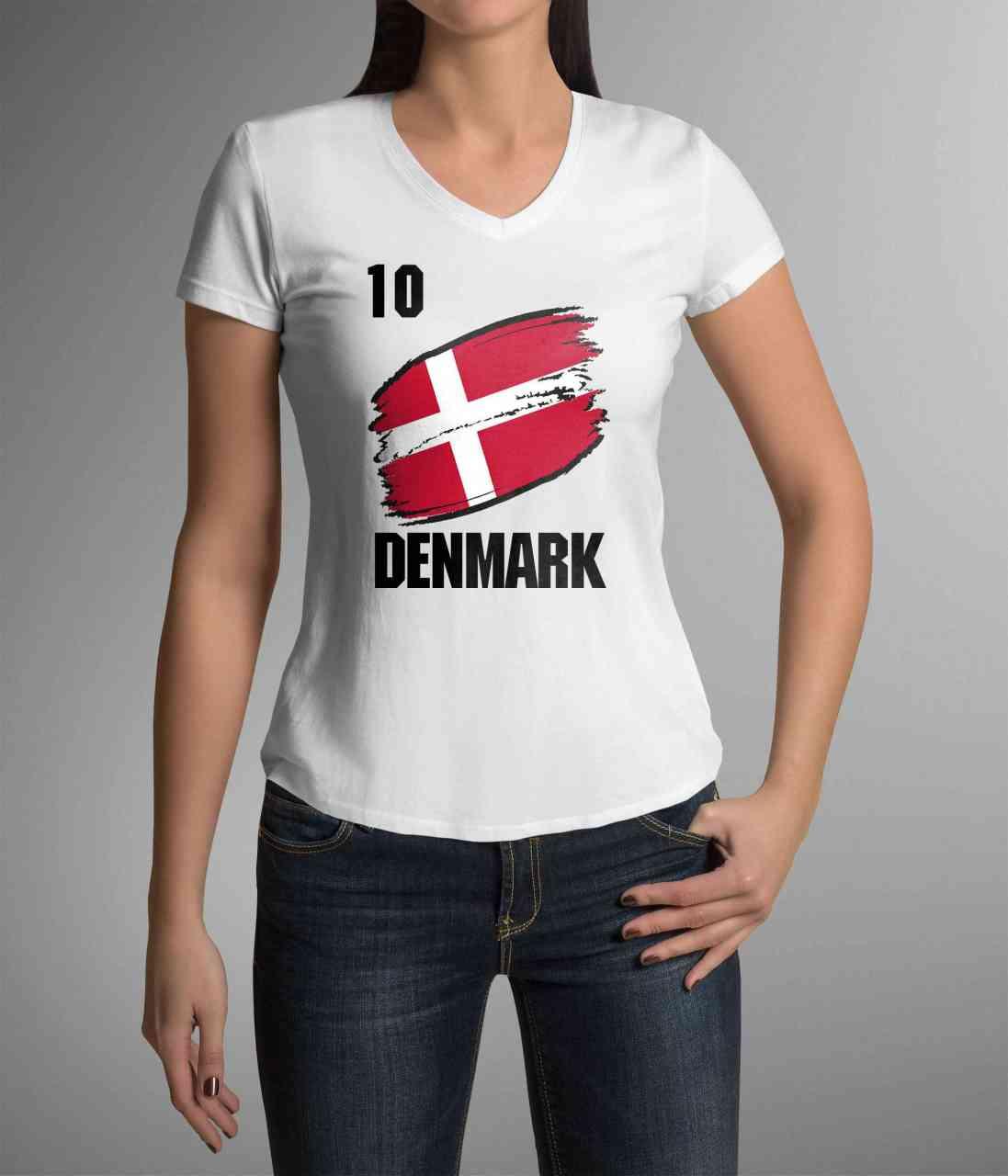 Denmark | Dänemark | Männer oder Frauen Trikot T - Shirt mit Wunsch Nummer + Wunsch Name | WM 2018