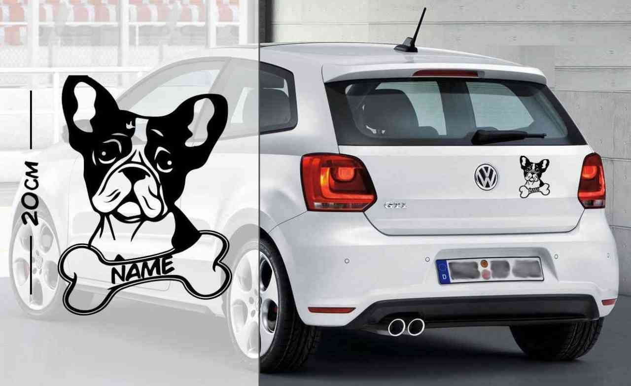 Französische Bulldogge #2 | Tier | Wunschtext | Autoaufkleber | Hund