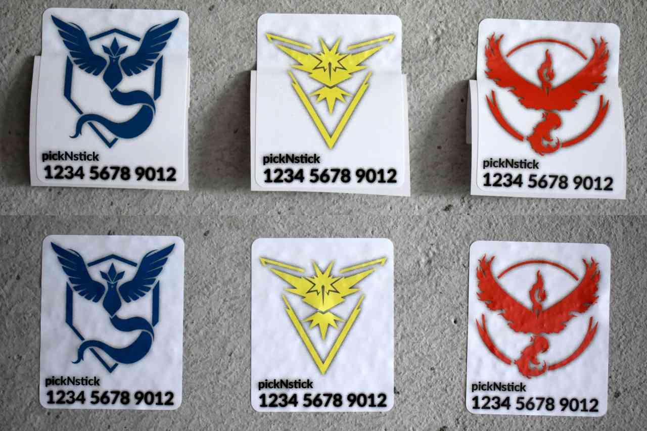 Pokemon Go Team Trainer Code Aufkleber #2   individuell mit Name und Code   Valor Mystic Instinct