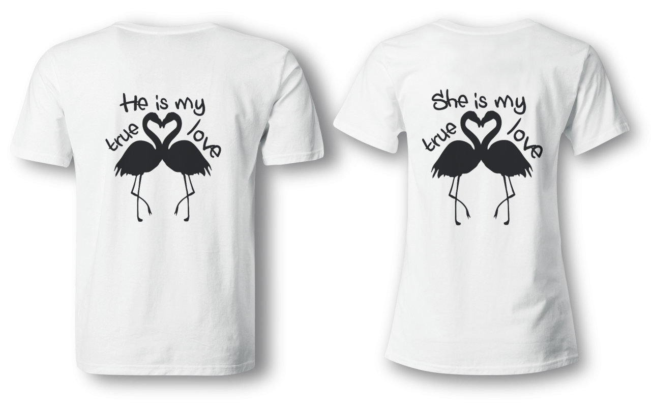 Flamingo true love - Partner Look | T-Shirt - Funshirt - Shirt | Frau und Mann