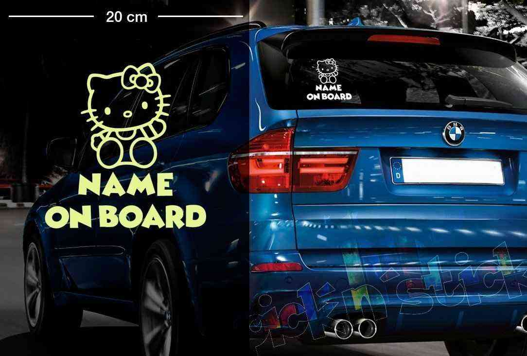 Hello Kitty #1 | Baby - Name On Board | Wunschtext | Autoaufkleber | Lustig