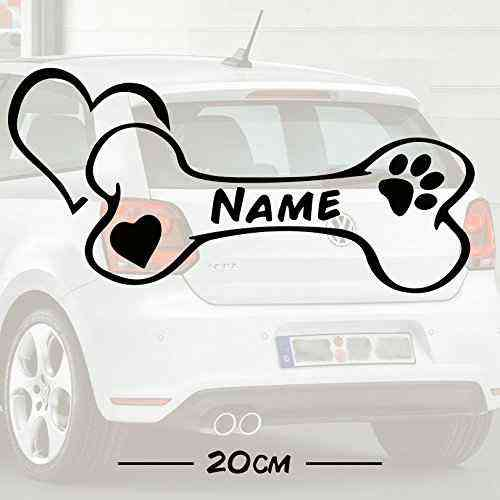 Autoaufkleber | Auto Aufkleber | Hunde Knochen Motiv mit Wunschtext Name