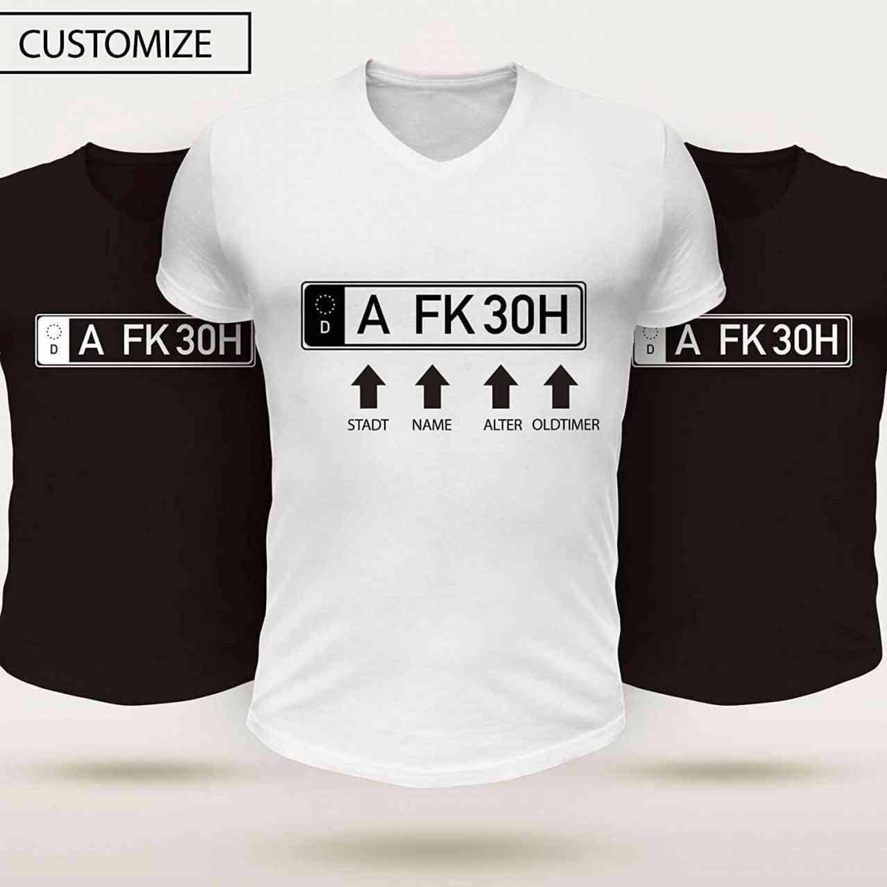 Oldtimer Kennzeichen T-Shirt Individuell mit Name (Anfangsbuchstaben), Ort und Alter | Männer oder F