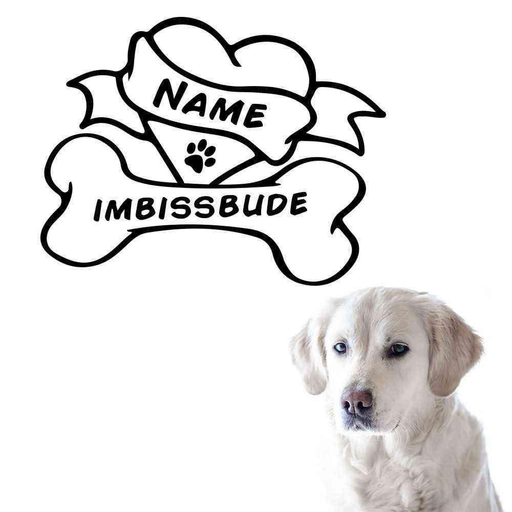 Hunde Knochen Motiv #2 | Wandtattoo | Napf Fressecke Aufkleber | Hund Motiv | Mit Name | Wunschtext