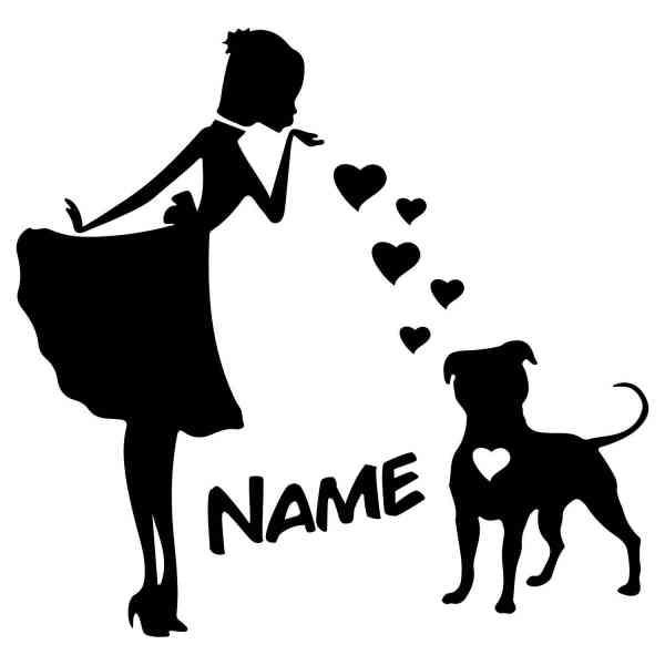 Prinzessin PitBull Herz | Hund | Wunschtext | Autoaufkleber | Decal