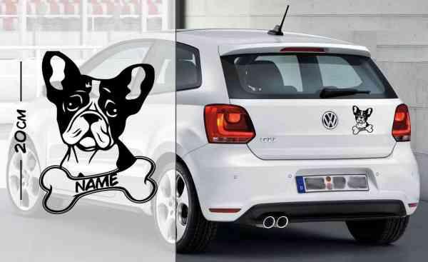 Französische Bulldogge #2   Tier   Wunschtext   Auto Aufkleber   Hund