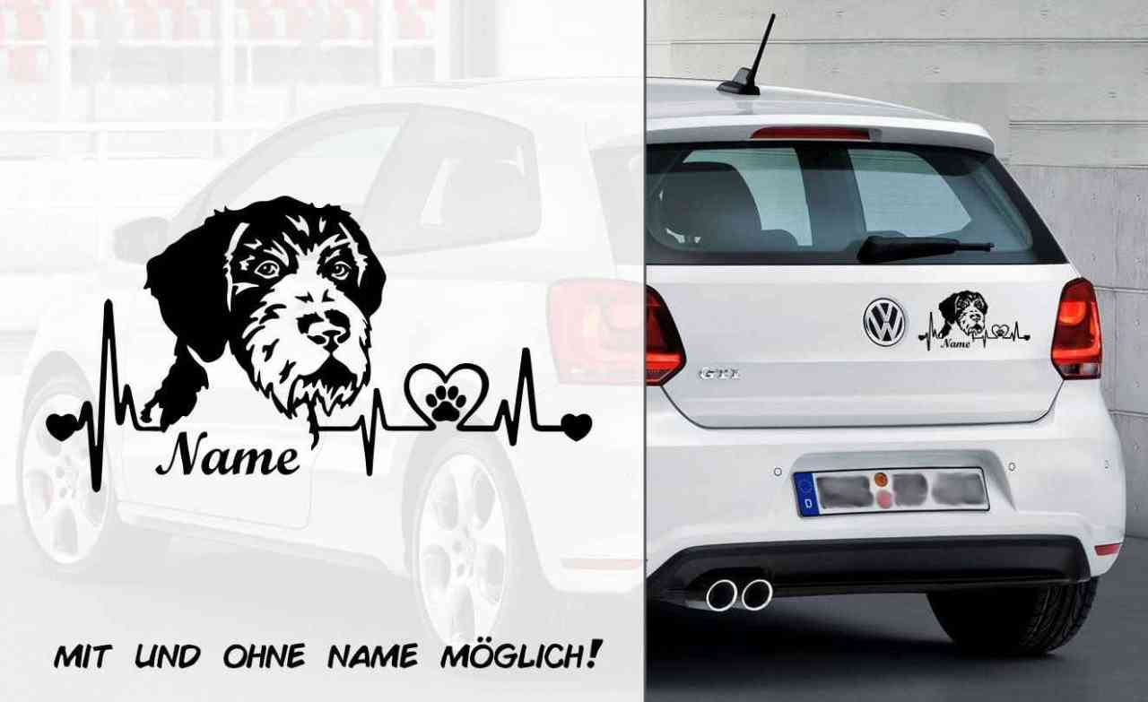 Deutsch Drahthaar Heartbeat 2 | Hunde Aufkleber | Autoaufkleber | Heckscheibe Aufkleber | Wunschtex