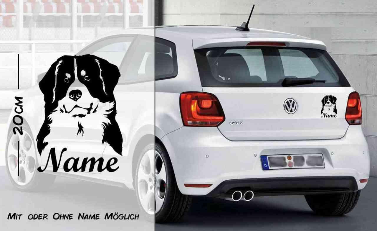 Berner Sennenhund 2 | Hunde Aufkleber | Autoaufkleber | Heckscheibe Aufkleber | Wunschtext | mit Na