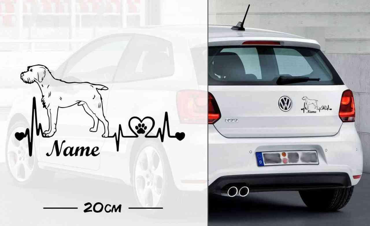 Deutsch Drahthaar Heartbeat 1 | Hunde Aufkleber | Autoaufkleber | Heckscheibe Aufkleber | Wunschtex