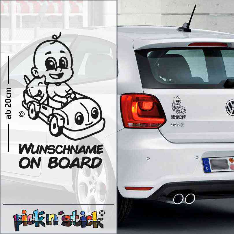 Car - Auto - Baby on Board im Auto | individuell mit Name | Wunschtext | Autoaufkleber | Lustig