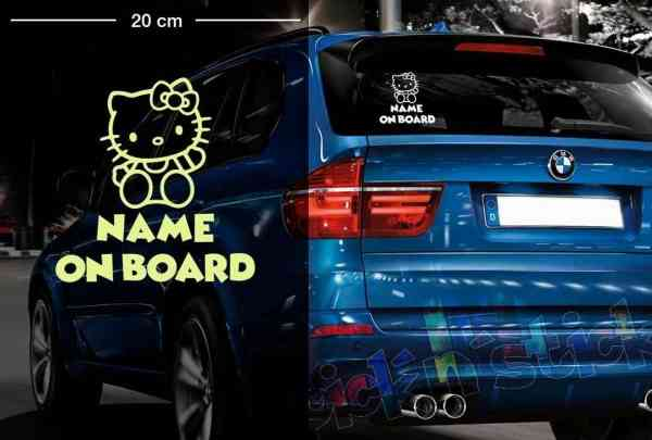 Hello Kitty #1 | Baby - Name On Board | Wunschtext | Autoaufkleber | Lustig