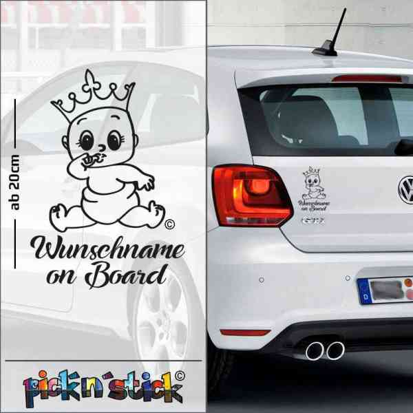 Princess - Prinzessin - Baby on Board mit Krone | individuell mit Name | Wunschtext