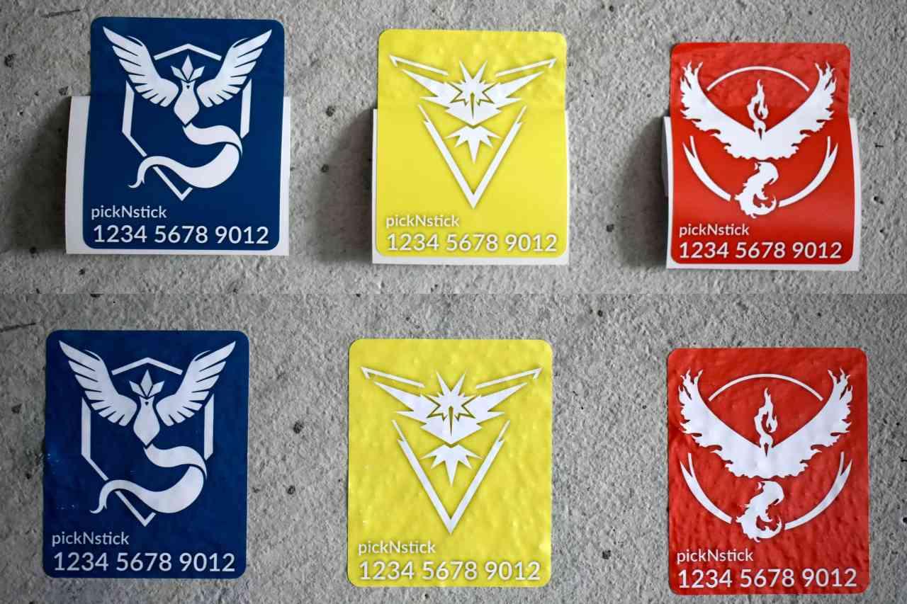 Pokemon Go Team Trainer Code Aufkleber #4   individuell mit Name und Code   Valor Mystic Instinct