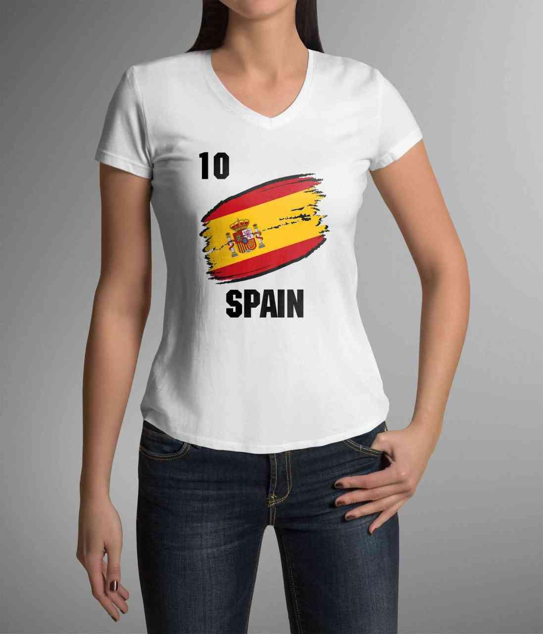 Spain | Spanien | Männer oder Frauen Trikot T - Shirt mit Wunsch Nummer + Wunsch Name | WM 2018