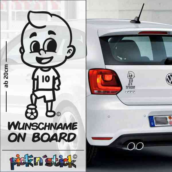 Soccer - Fußball - Baby on Board mit Ball | individuell mit Name | Wunschtext | Auto Aufkleber