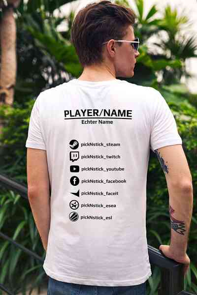 Gamer T-Shirt individuell mit Name-Tag ✔ Steam ✔ Faceit ✔ Twitch ✔ Youtube ✔ ESL ✔ ESEA ✔ Facebook |