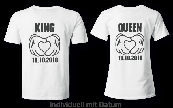 King & Queen mit Datum - Partner Look | T-Shirt - Funshirt - Shirt | Frau und Mann