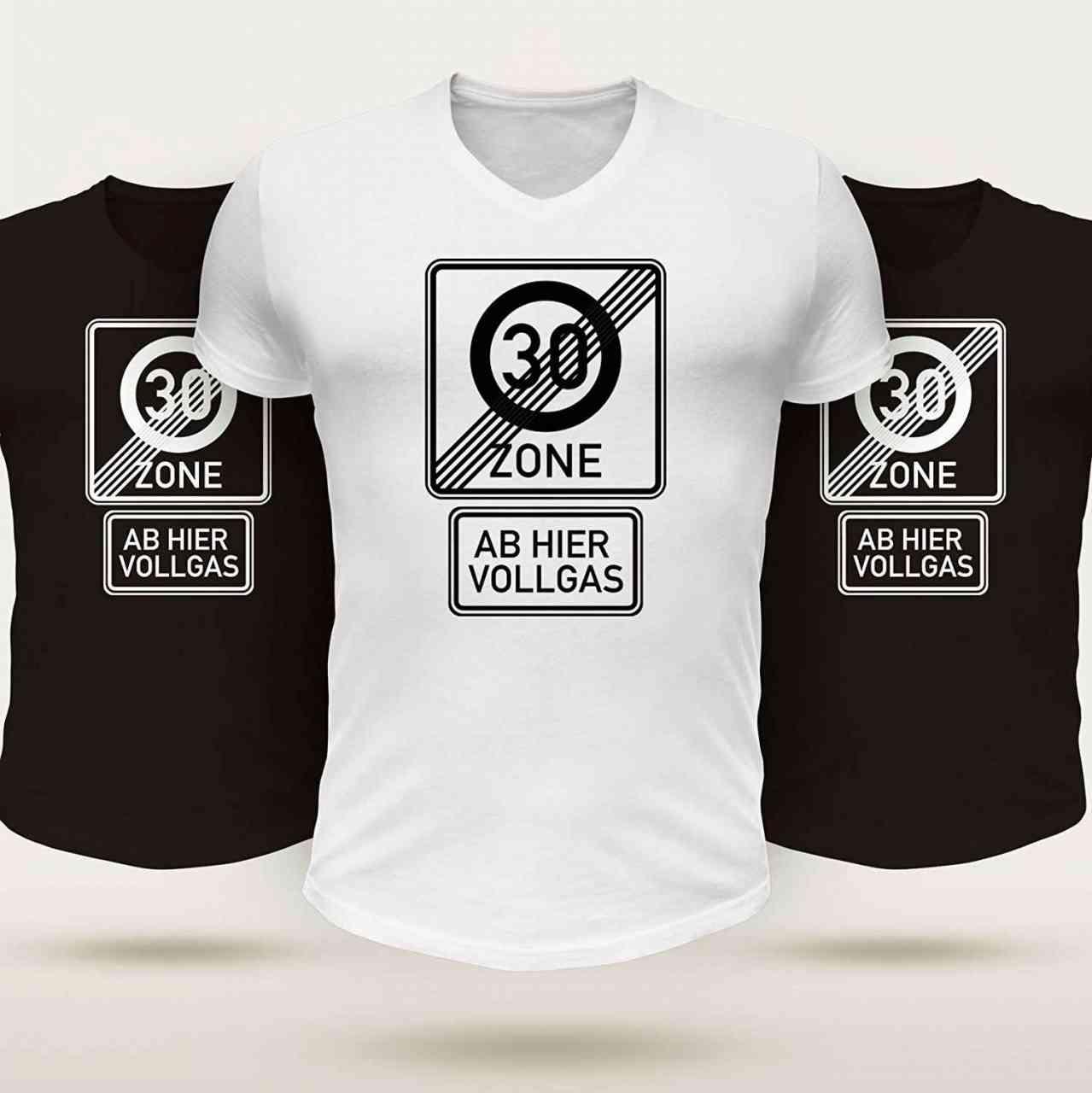 30 Zone endet - ab hier vollgas T-Shirt | Männer oder Frauen (Unisex) | Geburtstag | ü30
