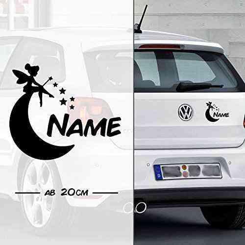 Fee * Fairy * Sternchen und Mond mit Name | Autoaufkleber | Elfe Fee Elfen Feen | on Board | Wunsch