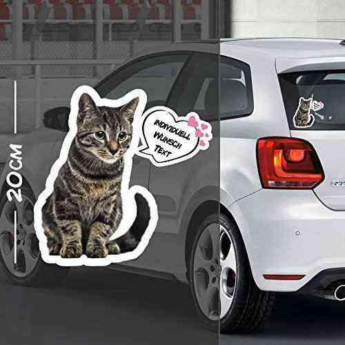 Katze Auto Aufkleber Motiv #3 | Druck & Cut mit oder ohne Laminat | Individuell mit Wunschtext