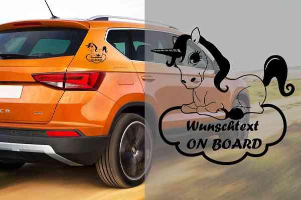 Einhorn #1 | Baby - Name On Board | Wunschtext | Auto Aufkleber | Lustig | Baby On Board