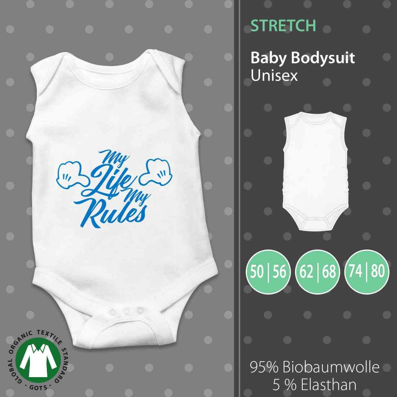 Baby Body Unisex | My Life My Rules | Mein Leben Meine Regel | Fun Baby Body by pickNstick