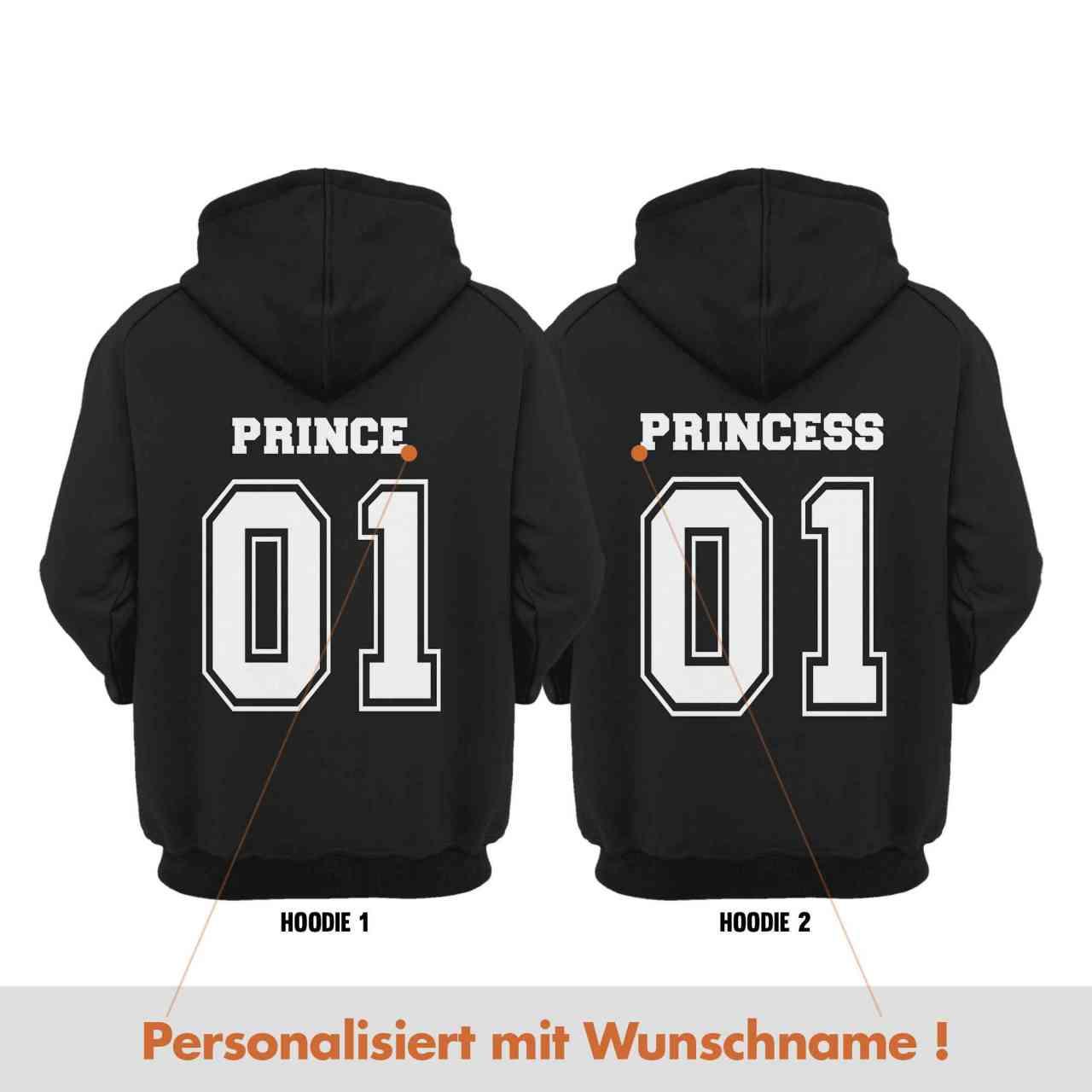 Prince Princess Partnerlook Hoodie Pulli mit Wunsch Namen | personalisiert