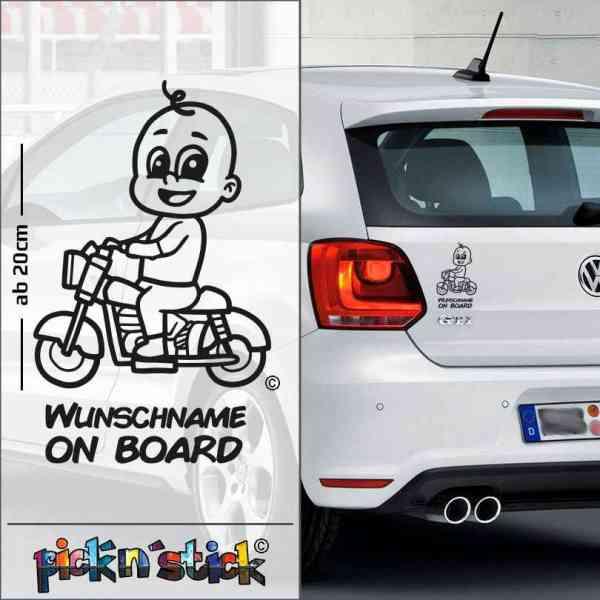 Biker - Motorrad - Baby on Board | individuell mit Name | Wunschtext | Auto Aufkleber | Lustig