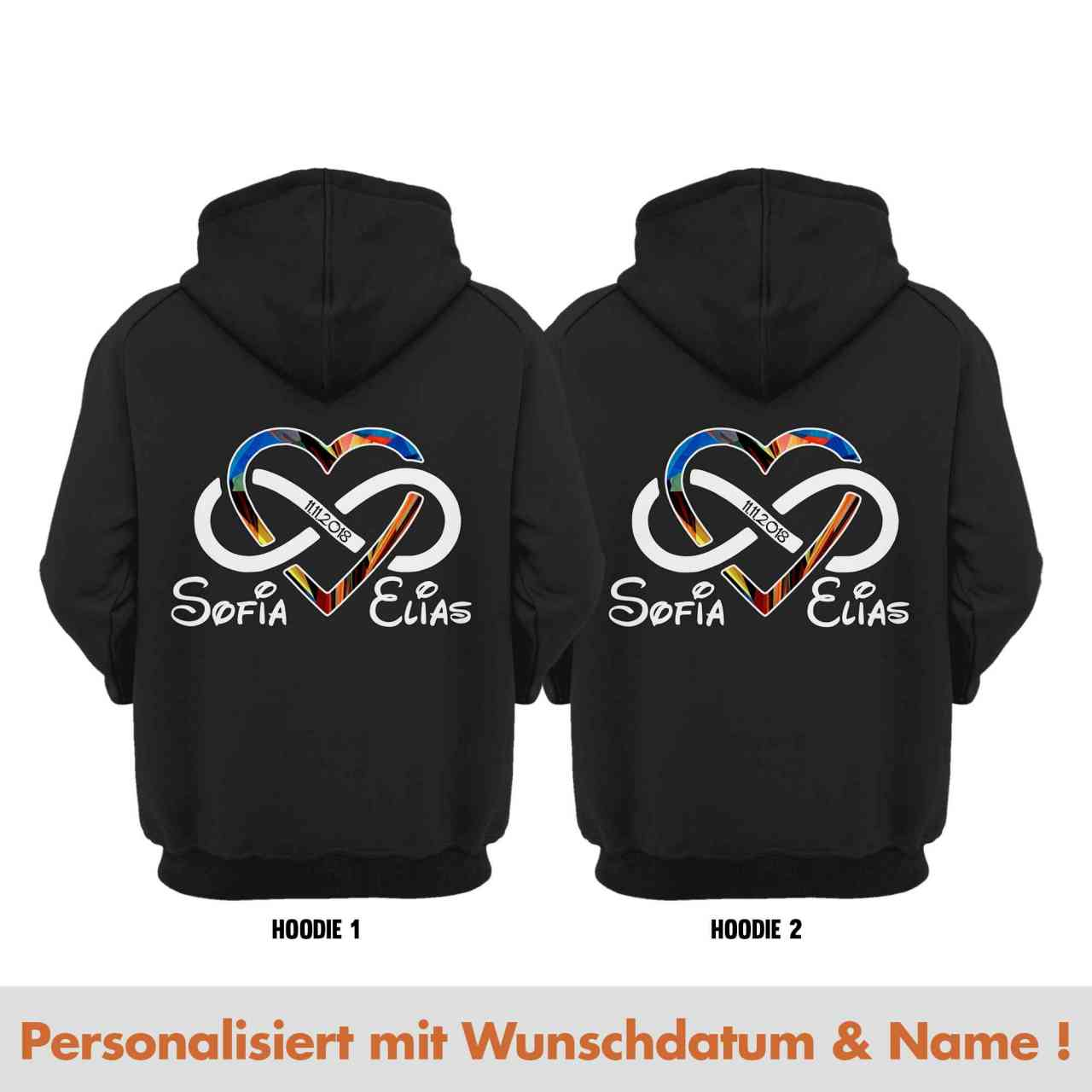 Love for ever Partnerlook Hoodie Pulli mit Datum und Namen | personalisiert-Copy
