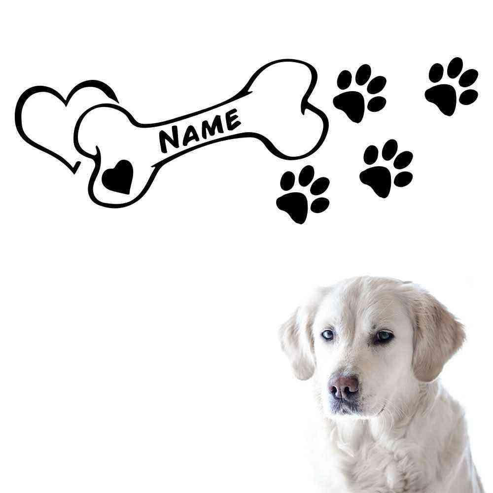 Hunde Knochen Motiv #3 | Wandtattoo | Napf Fressecke Aufkleber | Hund Motiv | Mit Name | Wunschtext