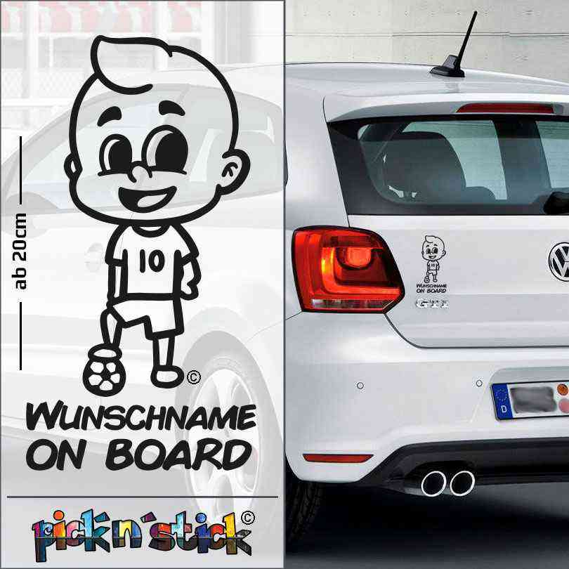 Soccer - Fußball - Baby on Board mit Ball   individuell mit Name   Wunschtext   Autoaufkleber