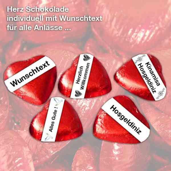 Schoko Herze individuell mit eigenem Wunsch Text | Hochzeit - Party - Liebe - Valentinstag - Gastges