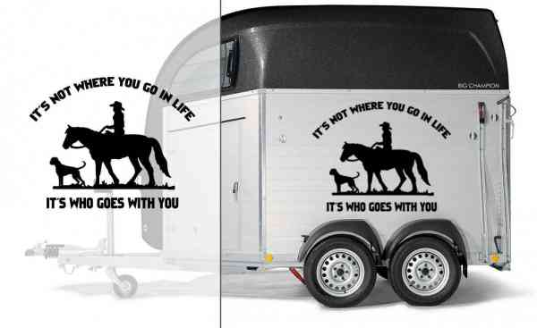 Pferd & Hund mit Spruch | Pitbull | Auto Aufkleber | Pferde Anhänger Aufkleber | It´s not where you