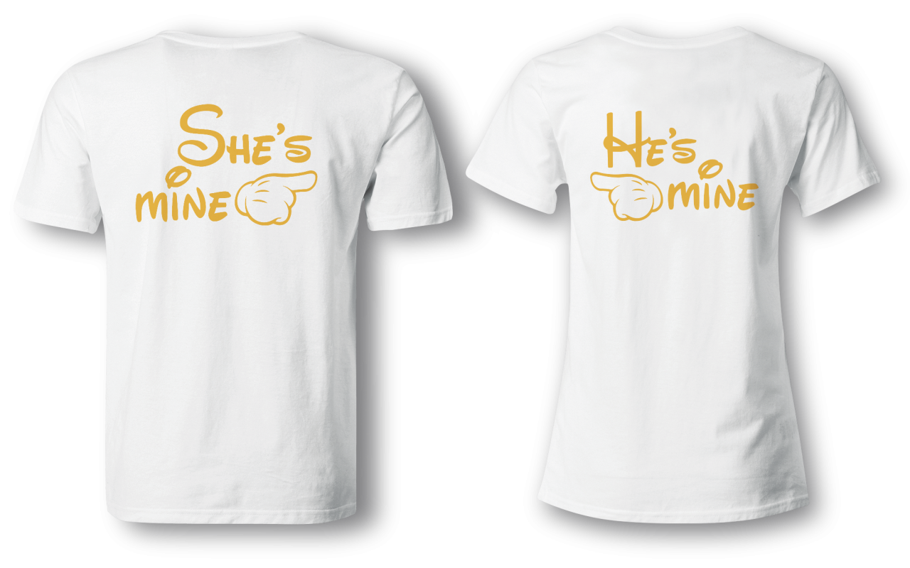 She´s mine & He´s mine - Partner Look | T-Shirt - Funshirt - Shirt | Frau und Mann