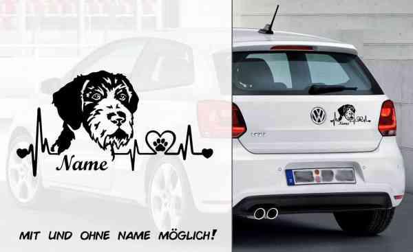 Deutsch Drahthaar Heartbeat 2 | Hunde Aufkleber | Auto Aufkleber | Heckscheibe Aufkleber | Wunschtex