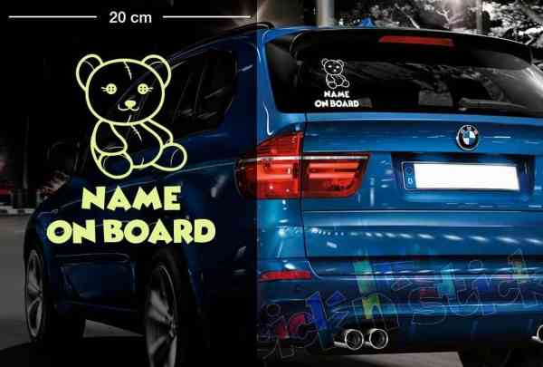 Teddy Bär #1 | Baby - Name On Board | Wunschtext | Autoaufkleber | Lustig | Baby On Board