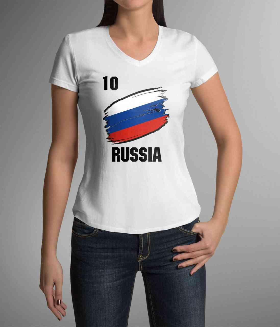 Russia | Russland | Männer oder Frauen Trikot T - Shirt mit Wunsch Nummer + Wunsch Name | WM 2018