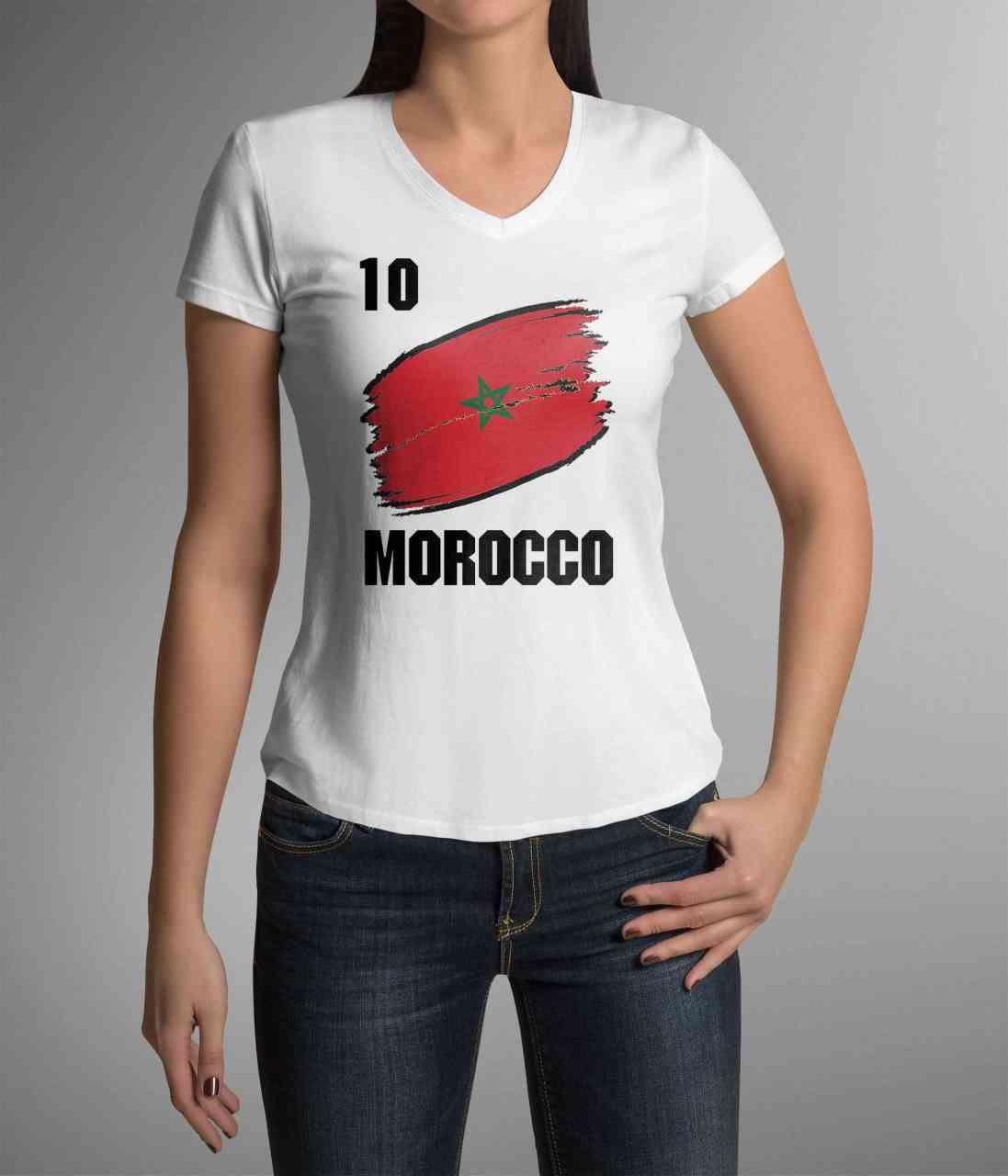 Morocco | Marokko | Männer oder Frauen Trikot T - Shirt mit Wunsch Nummer + Wunsch Name | WM 2018