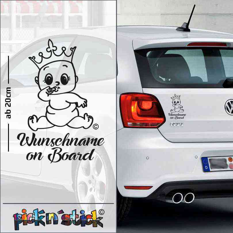 Princess - Prinzessin - Baby on Board mit Krone | individuell mit Name | Wunschtext
