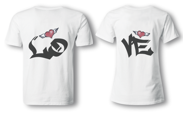 Love - Partner Look   T-Shirt - Funshirt - Shirt   Frau und Mann