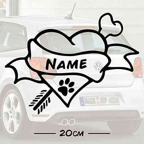 #3 Hunde Knochen Love mit Wunschtext   Name   Autoaufkleber   Hund   Haustier   Wunschtext