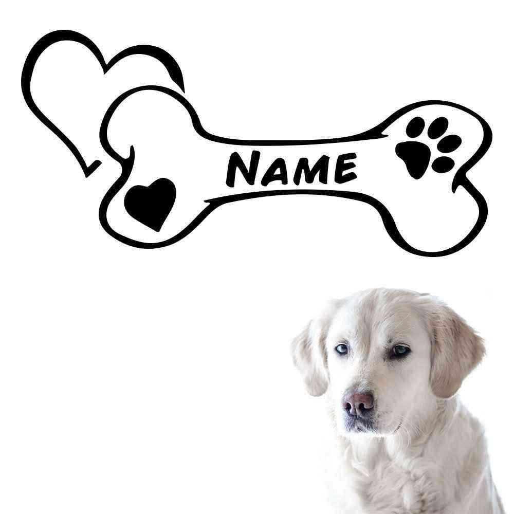 Hunde Knochen Motiv #1 | Wandtattoo | Napf Fressecke Aufkleber | Hund Motiv | Mit Name | Wunschtext