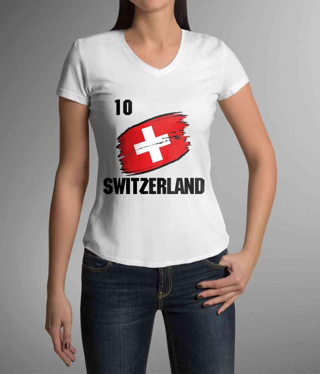 Switzerland | Schweiz | Männer/Frauen Trikot/T-Shirt mit Nummer + Name | WM 2018