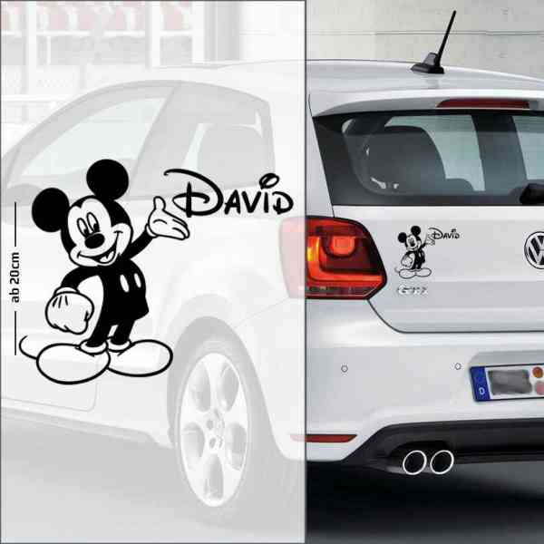 Micky Maus | Autoaufkleber mit Name | Baby - Name On Board | Wunschtext | Lustig | Baby On Board