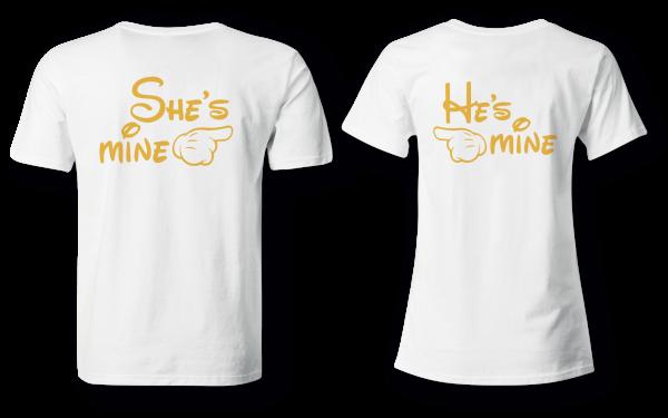She´s mine & He´s mine - Partner Look   T-Shirt - Funshirt - Shirt   Frau und Mann