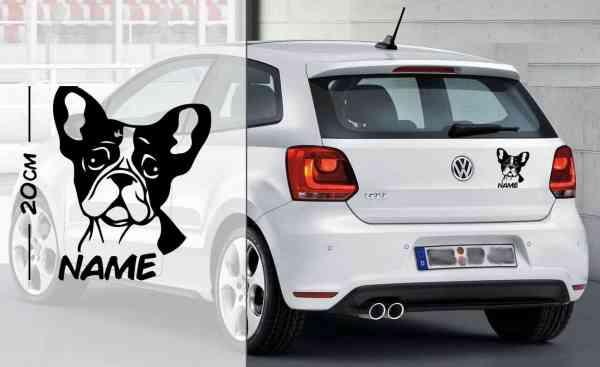 Französische Bulldogge #1 | Tier | Wunschtext | Auto Aufkleber | Hund