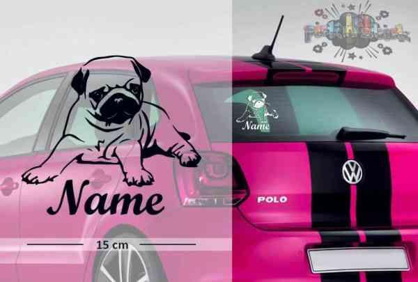Mops #2 | Tier | Wunschtext | Auto Aufkleber | Hund